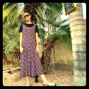 90s vintage floral jumper dress purple black rayon
